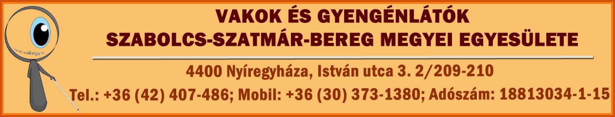 Vakok és Gyengénlátók Szabolcs-Szatmár-Bereg Megyei Egyesületének honlapja
